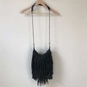 [steve madden] black boho fringe crossbody bag